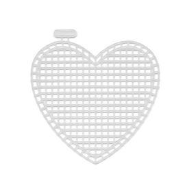 Пластиковая канва фигурная, сердце 7 х 8 см - 10 шт