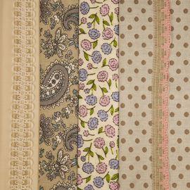 """Набор тканей """"Восточный огурец с цветами"""" 4 лоскута и 2 тесьмы"""