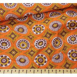 """Ткань хлопок """"мозайка на оранжевом"""", ширина 150 см"""