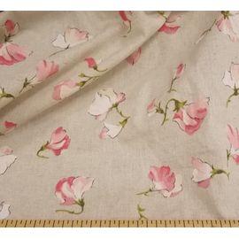 """Ткань лен хлопок """"розовые цветы горошка на сером"""", ширина 150 см"""