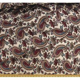 """Ткань лен хлопок """" бордовый восточный огурец на сером"""", ширина 150 см"""