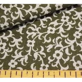 """Ткань льняная """"гирлянда цветов на тёмно-зелёном"""", ширина 150 см"""