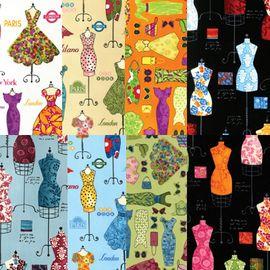 Ткань для пэчворка АССОРТИ DRESS UP 8 шт -  91х110 см