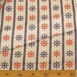 """Ткань хлопок """"Красно-синие штурвалы на белом"""", ширина 150 см"""