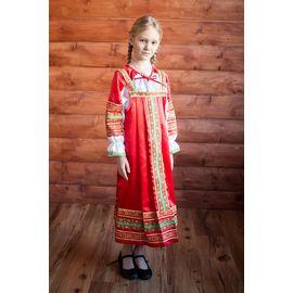 Русский народный костюм для девочки Алёнушка красный