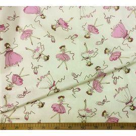 """Поплин (хлопок) """"Балерины в белых и розовых платьях на белом"""", ширина 150 см"""
