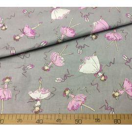 """Поплин (хлопок) """"Балерины в белых, розовых платьях на сером"""", ширина 150 см"""