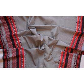 Ткань лен полулен Русский орнамент красный 150 см