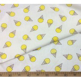 """Ткань хлопок """"Жёлтое мороженое на белом"""", ширина 150 см"""
