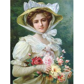 "Канва с рисунком для вышивки лентами OVM-0124 ""Дама с букетом роз"""