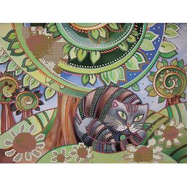 "Канва с рисунком для вышивки бисером OBB-0103 ""Кот и ромашки"""
