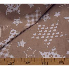 """Ткань бязь в звездочку """"Белые звёзды с рисунком на кофейном"""""""
