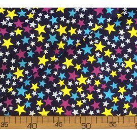 """Ткань бязь в звездочку """"Цветные звёзды на тёмно-синем"""""""