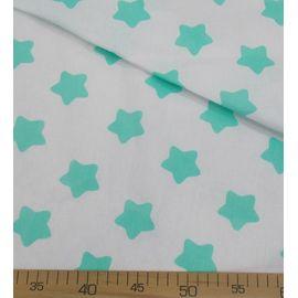 "Ткань бязь ""Мятная звезда-пряник на белом"" ширина 150 см"