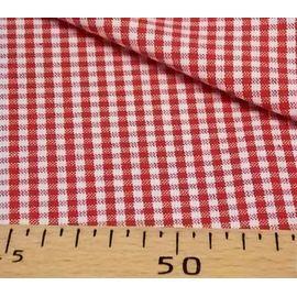 Пестроткань хлопок Красно-белая клетка, ширина 145 см
