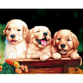 Алмазная мозаика Цветной LGP011 Забавные щенки