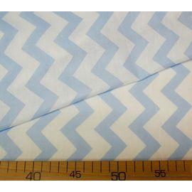 """Ткань бязь хлопок """"Белый, нежно-голубой зигзаг"""", ширина 150 см"""