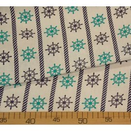 Детская ткань бязь Мятно-синие штурвалы на белом