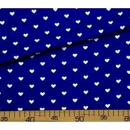 """Детская ткань бязь """"Белые сердечки на синем"""", ширина 150 см"""