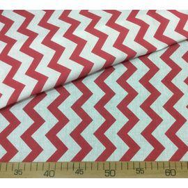 "Ткань хлопок ""Бело-красный зигзаг"", ширина 150 см"