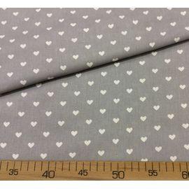 Детская ткань бязь Белые сердечки на сером