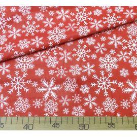 Ткань поплин хлопок Белые снежинки на красном