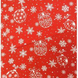 """Ткань рогожка """"Снежинки и ёлочные шары на красном"""""""