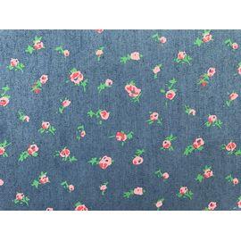 """Ткань джинс """"Нежные цветы"""" цв.синий"""