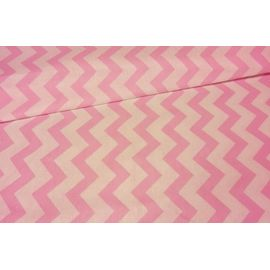 "Ткань хлопок ""Бело-розовый зигзаг"", ширина 150 см"
