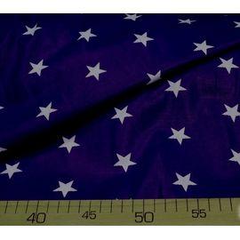 """Хлопковая ткань """"Белая звезда на синем"""" ширина 150 см"""