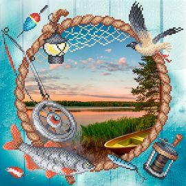 Канва с рисунком для вышивки бисером Г-128 Сезон рыбалки