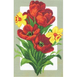 """Канва с рисунком Матренин посад 505 """"Тюльпаны и нарциссы"""""""