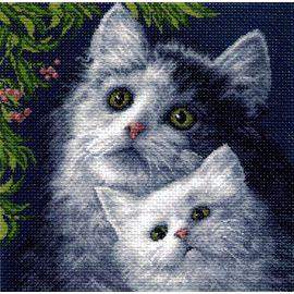 """Канва с рисунком Матренин посад 971 """"Кошка с котенком"""""""