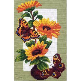 """Канва с рисунком Матренин посад 473 """"Цветы и бабочки"""""""