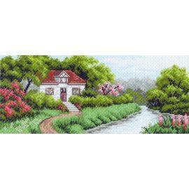"""Канва с рисунком Матренин посад 1208 """"Домик в саду"""""""