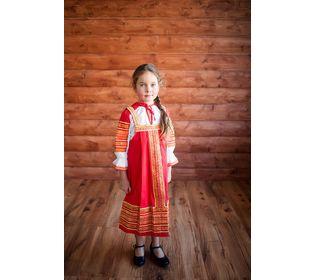 Костюм для народного танца Дарья красный