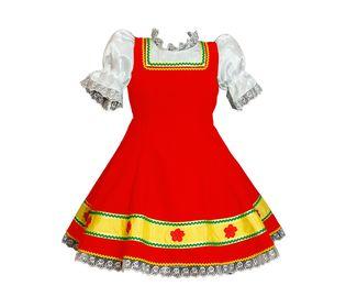 Русское народное платье для девочки Наташка красное