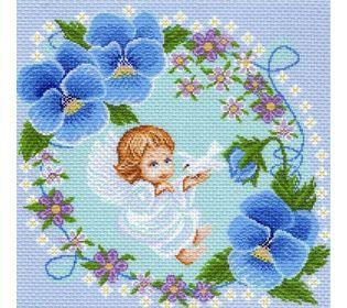 """Канва с рисунком Матренин посад 975 """"Ангелочек в цветах"""""""