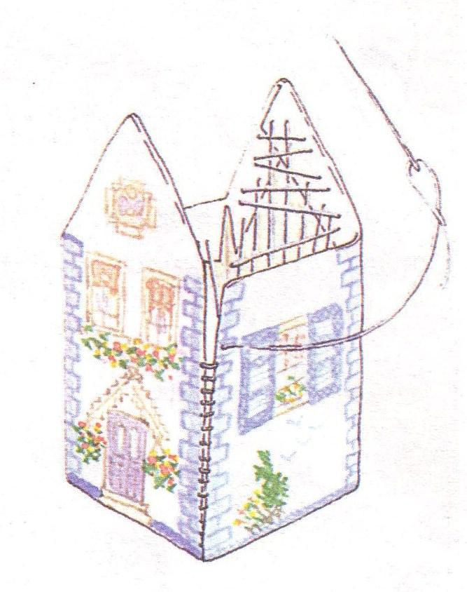 Объемный вышитый домик